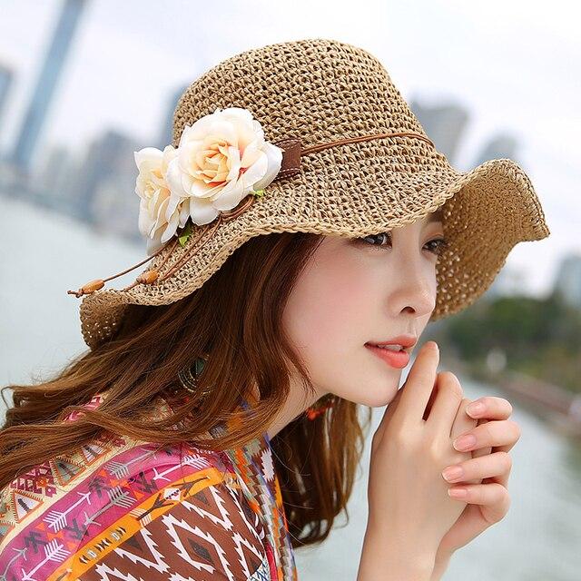 Hueco Transpirable Sombrero de Paja Para Las Mujeres Anti-Ultravioleta  Grande Casquillo Del Recorrido de fa410cae21e