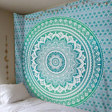 Enipate Large Mandala Indian Tapestry Wall Hanging Bohemian Beach Towel Polyester Thin Blanket Yoga Shawl Mat 210x150cm Blanket(China)