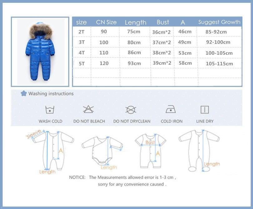 Degré russe hiver vêtements pour enfants doudoune garçons manteaux pour vêtements de dessus, épaissir imperméable snowsuit filles vêtements - 5