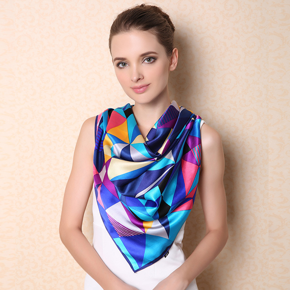 Winter Large Size Square Silk Scarf 100% Mulberry Silk Scarves Shawls Plaid Fantasy Style Fashion Elegant Lady Shawl F504