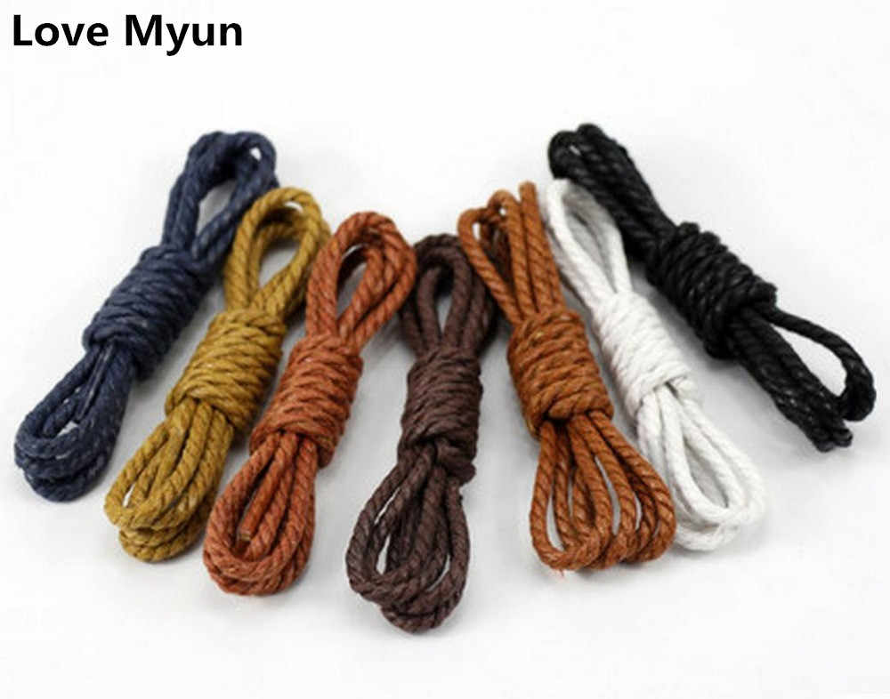 6484fef6d5 Three rope waterproof shoelaces unisex casul leather shoe laces fashion  loafers boats shoelace white black brown