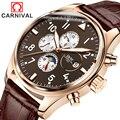 Carnaval de Zafiro Reloj Mecánico Automático de acero Inoxidable de Los Hombres de cuero marrón impermeable Reloj relogio masculino
