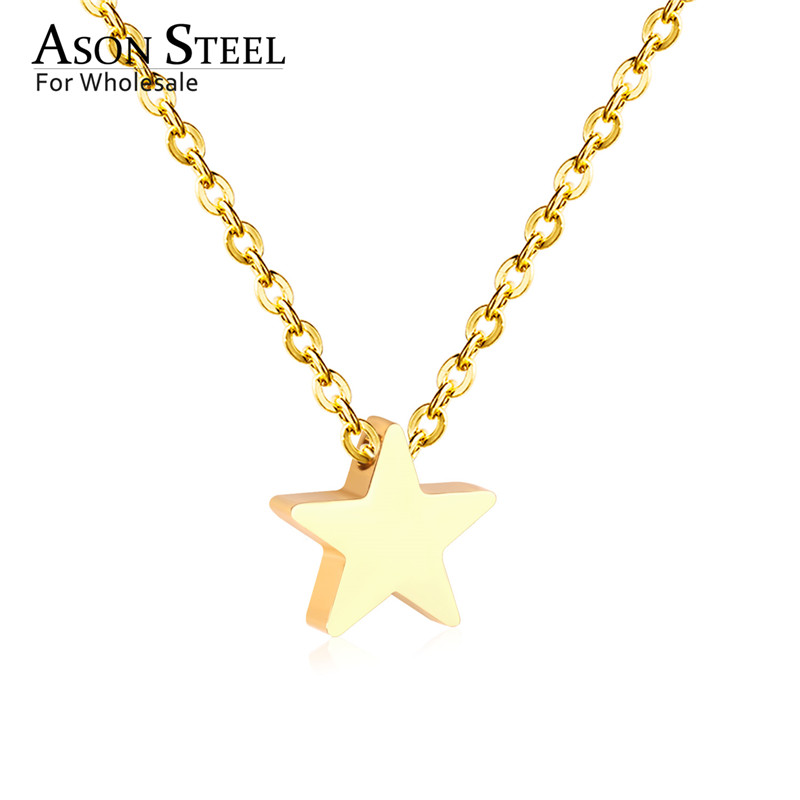 45cm Top 316L Stainless Steel Heart Moon Star CrossPendant Long Link Chains Necklaces Set Gold For Women Choker Necklace Jewelry 14