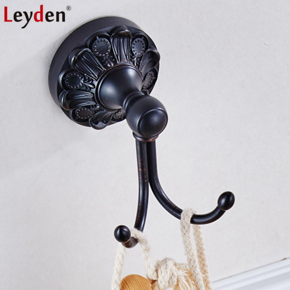 Black Wall Hooks Us 18 73 45 Off Leyden Modern Black Wall Mounted Orb Brass Robe Hook Clothes Hat Wall Hook Clothes Hanger Kitchen Bathroom Accessories In Robe Hooks