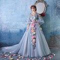 OMY159 Festival de Cine de Cannes Vestidos de Noche Flores Fanbingbing Celebrity Vestido de Manga Larga de Tren de la Corte Con Encanto de Hadas