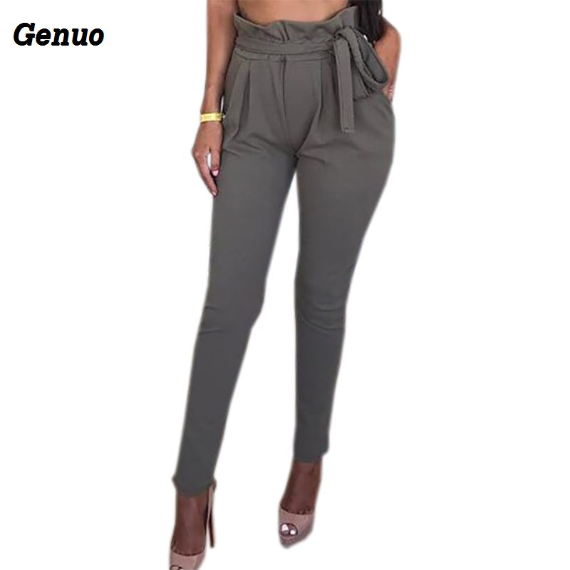 OL Chiffon Pants Summer Women Harem 2018 Sexy Casual Solid Sashes Bow Pockets Bodycon Long Trousers 6 Color Genuo
