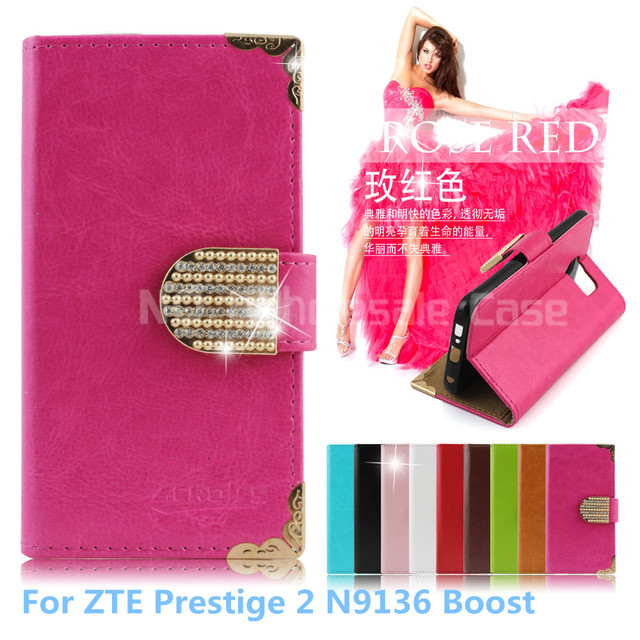 100Pcs Wallet Bling PU Leather Case For ZTE Prestige 2 N9136 Boost Phone Bag Rhinestone Flip Cover With Card Slot Free DHL
