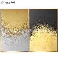 Wholesale Handmade Gold or Silvery Color Oil Painting on Canvas for Decor Hand Painted 3D Gilding Landscape Texture Painting