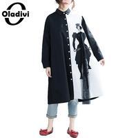 Oladivi Brand Plus Size Women Clothing Ladies Fashion Print Black White Shirt Blouse Female Tops Tunic Blusas 2018 Spring Autumn