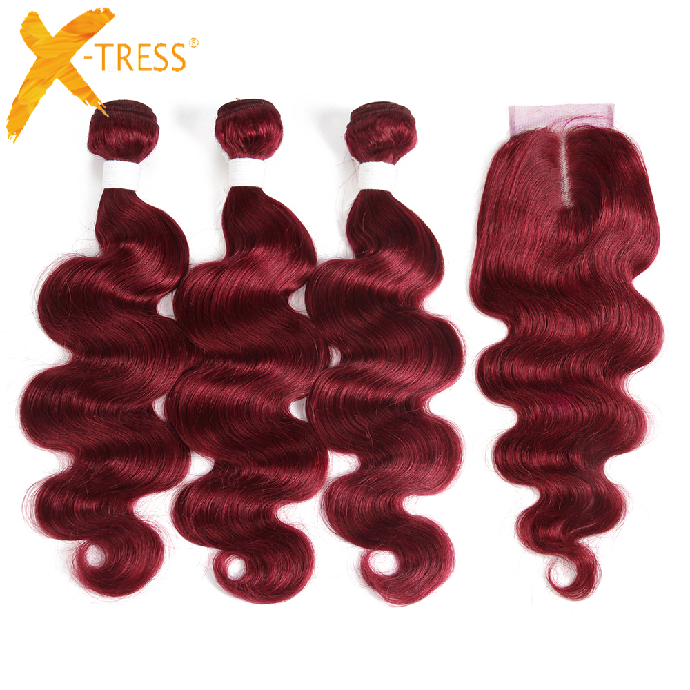 Burg Red Color Body Wave Human Hair Bundles With Lace Closure 4x4 Brazilian Non-Remy Hair Weaves Extensions 4 Pieces Free Ship