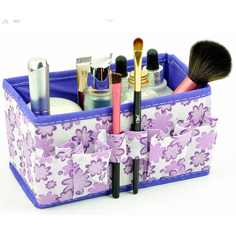 Fashion Multifunction Open Cosmetic Bag Beauty Floral Organizer Make Up Bag New Folding Makeup Cosmetics Storage Box