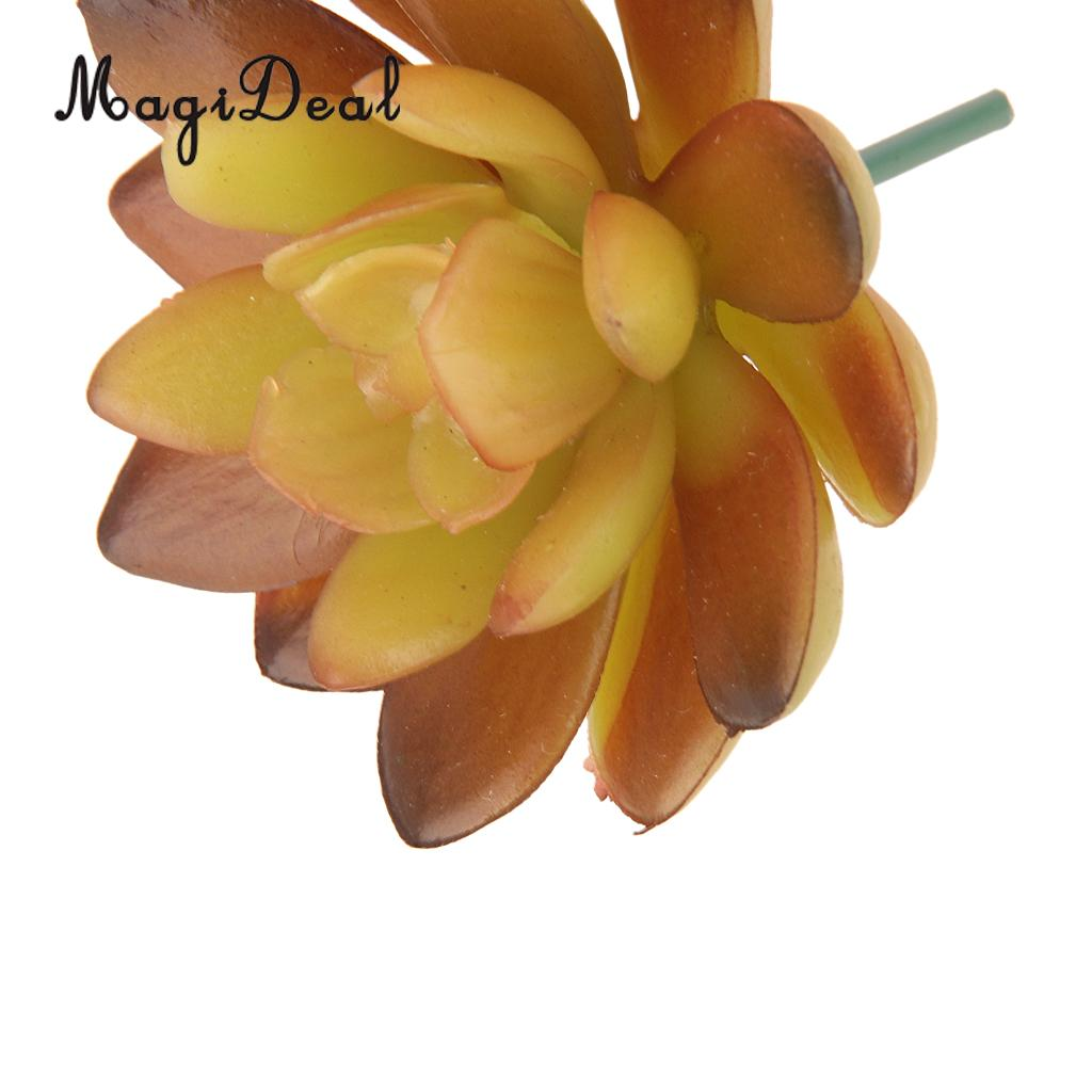 MagiDeal Lifelike Artificial Succulent Real Touch Gem Flower Foliage ...