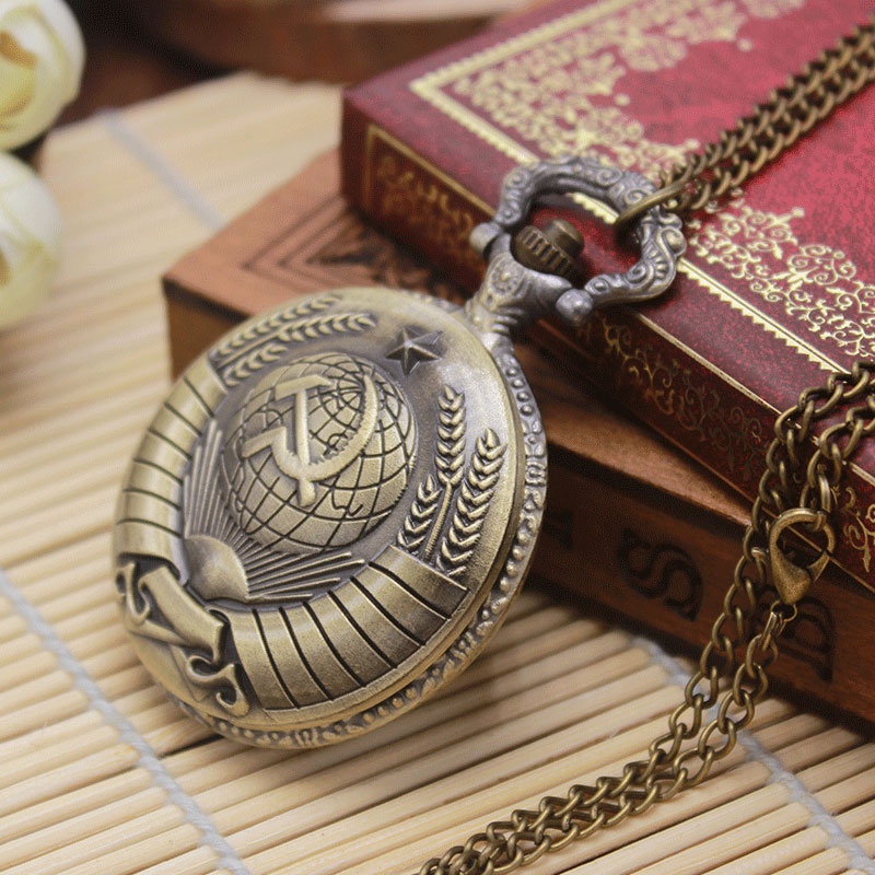 Retro Bronze Russia The Soviet Union Flag Theme Fob Antique Quartz  Pocket Watches Necklace Pendant  Men Women Relogio De Bolso the soviet union tube diy hifi 6u4n eb 6u4n 6u4