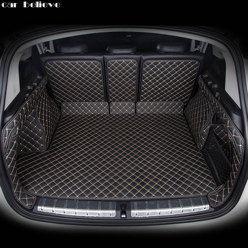 Car Believe Custom car trunk mat For bmw x3 e83 X5 5 series Cargo Liner Interior Accessories Carpet car styling Foot mat custom car mat trunk cargo liner for porsche 911 cayman cayenne macan panamera car trunk pad car accessories car styling