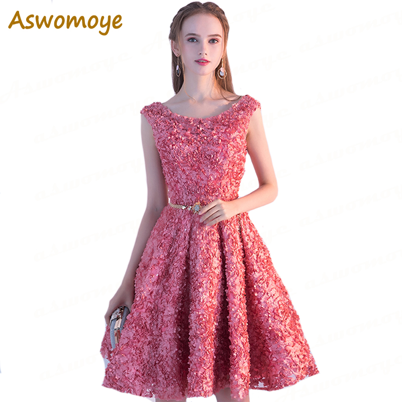 Short Evening Dress 2018 Sleeveless Elegant Banquet Red Carpet Prom Dresses Sashes Backless Party Dress Lace Up Robe De Soiree