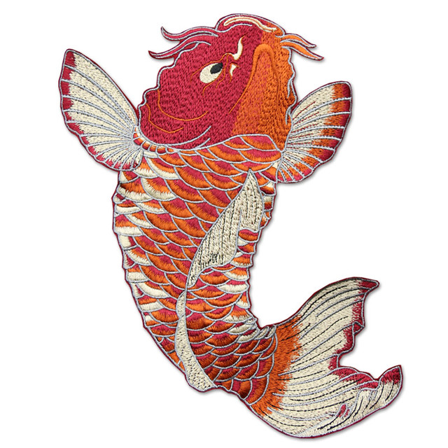 Super Big Red Carp Fish Embroidered Patches for Clothes Sewing on Garment Applique DIY Accessory Party Decor Big Fish Patch
