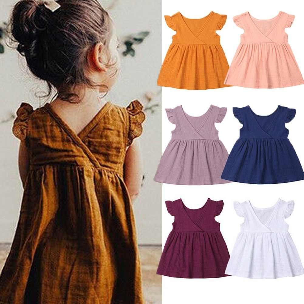 1-5 Years Toddler Kids Baby Girls Fly Sleeve Cotton Linen Dress Solid Color Ruffle V-Back Outfit Summer Clothes