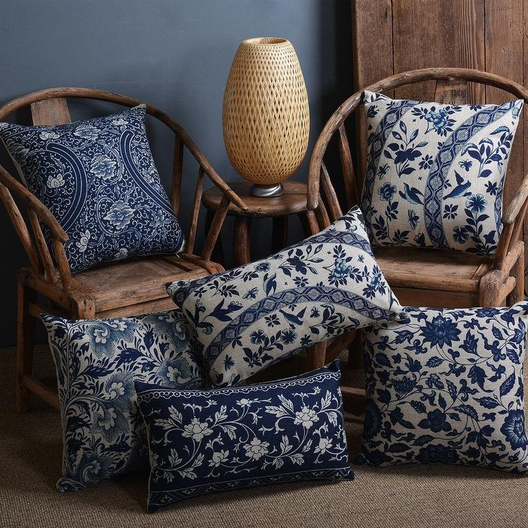 Винтажный синий белый фарфоровый чехол для подушки, домашний декор, чехол для подушки в цветочек, льняной чехол для подушки для дивана