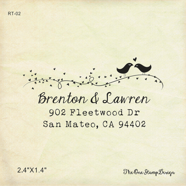 wedding return address stamp love bird custom family address stamps