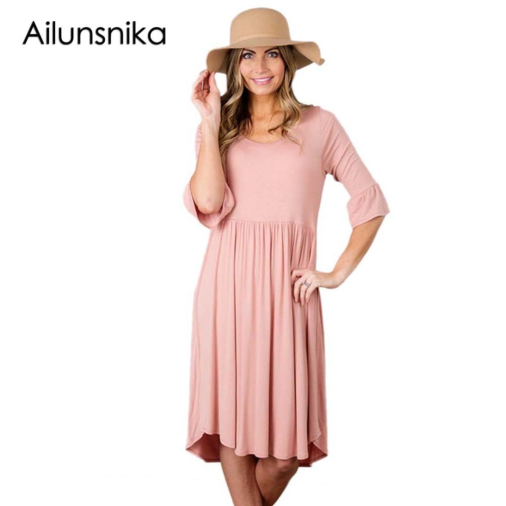 Ailunsnika Ladies Pink Summer Dress 2018 Vestidos Half Ruffle Sleeve ...