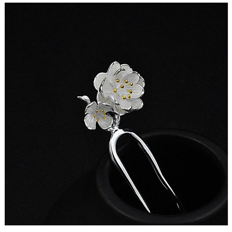 925 en argent Sterling épingle à cheveux faux fleurs chinois à la main bijoux ethniques épingles à cheveux boîte cadeau femmes bâton de cheveux - 4