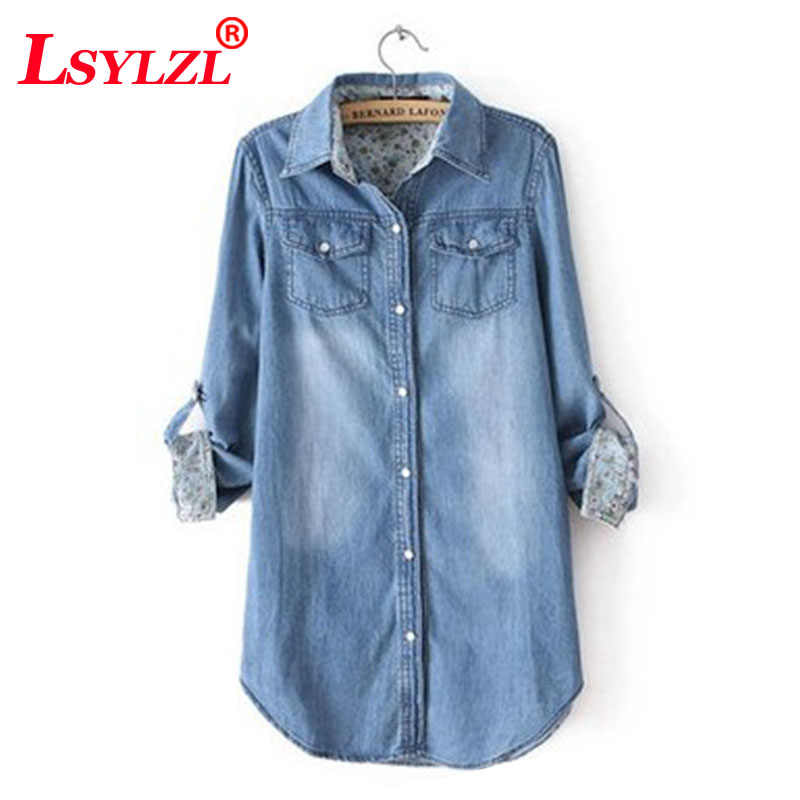 6dd3155c3d Fashion Women Blouse Spring Autumn Casual Shirts Camiseta de mujer Long  Sleeve Denim Jeans Tops Casual