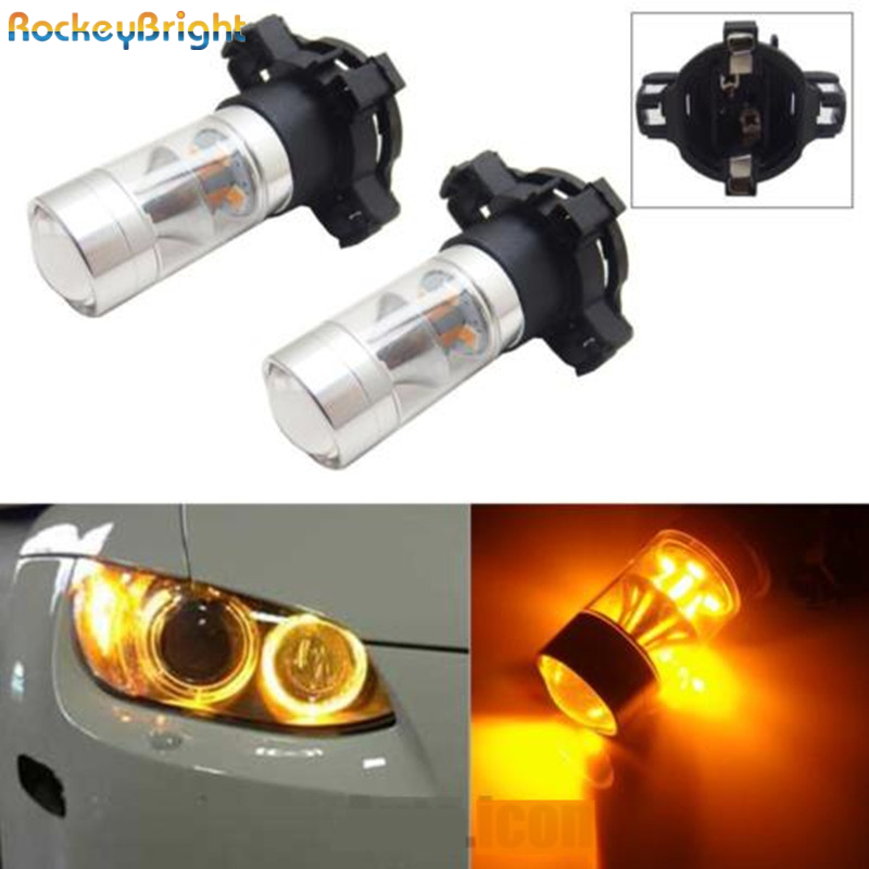 цены  Rockeybright Amber Yellow Error Free PY24W 5200s LED Bulbs Reflector Mirror Design For BMW for Audi Front Turn Signal Lights