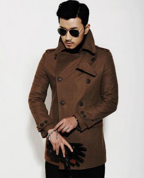 Negro marrón otoño invierno cálido abrigo de lana cruzado hombres - Ropa de hombre - foto 5