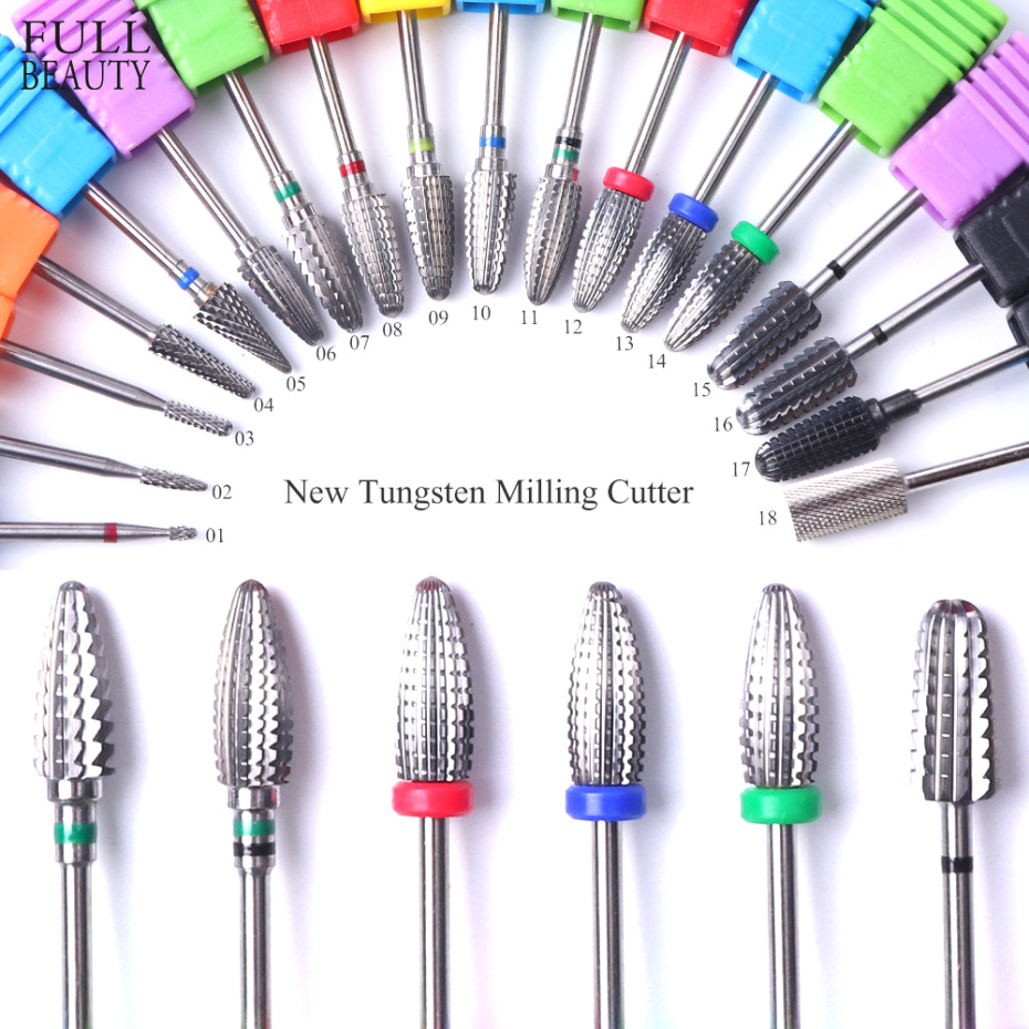 1PC Tungsten Carbide Manicure Cutters Nail Bits For Electric Milling Drill Pedicure Metal Bit Nail Art Machine Accessory CH1014