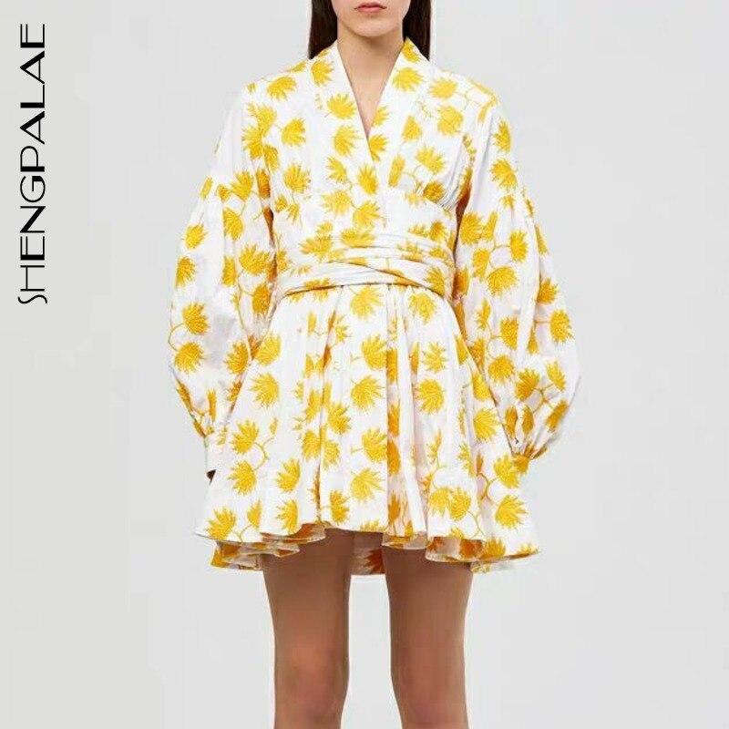 SHENGPALAE australie marée marque 2019 la tendance été lanterne manches arc Chalaza jaune érable feuilles impression robe femme WG083