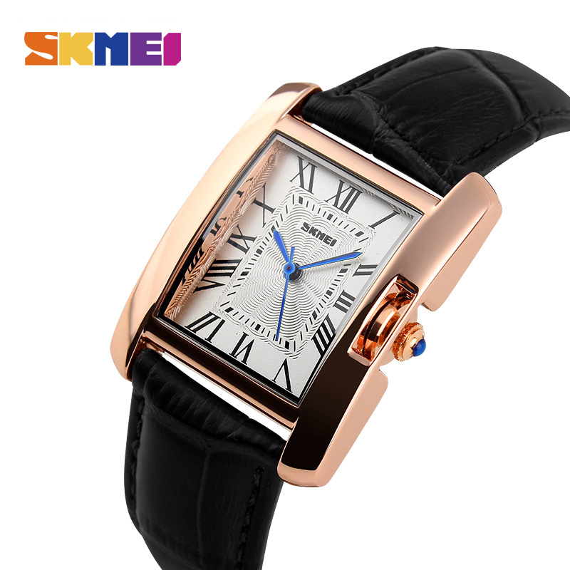 SKMEI Women Quartz Watches Top Luxury Fashion Casual Watch Leather Strap RoseGold Lady Dress Montre Girls Relogio Feminino 1085
