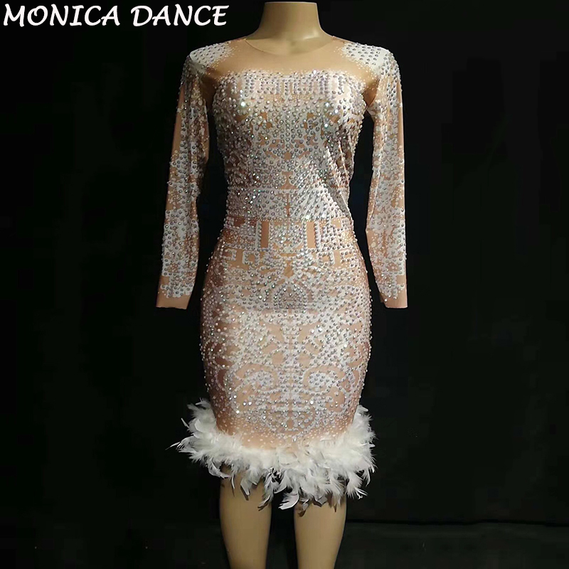 Women Sexy Short White Feather Dress Sparkling Crystals Nightclub Birthday Party Celebrate Wear Dancer Singer Bling Costumes