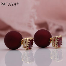 PATAYA 328 Anniversary 585 Rose Gold Red Square Resin Artificial Zircon Spherical Ball Stud Earrings Women Wedding Party Jewelry(China)
