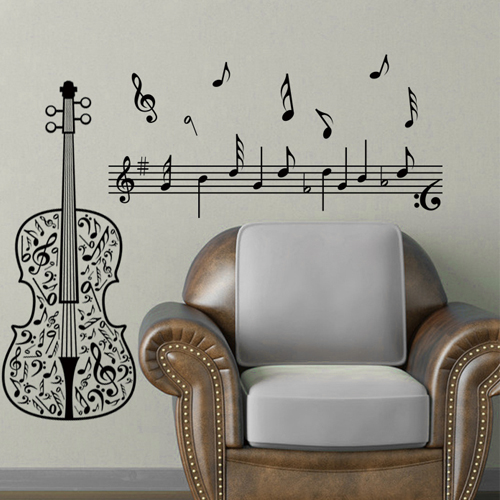 wall art Home Decoration Art Violin Music Note Wall Sticker Quotes ...