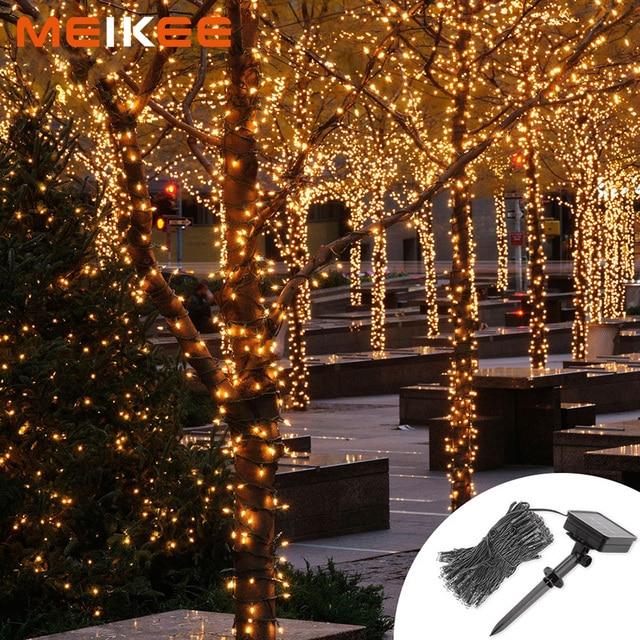 100/200/300leds LED String Lights 8Modes Solar Powered Starry Christmas Lights Garland Decoration for Garden Square Holidays