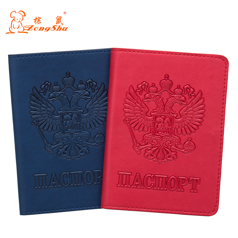 Coin Purses & Holders Russian Blue Pu Leather Double-headed Eagle Emblem Card Holder Bag Travel Built In Rfid Blocking Protect Personal Information