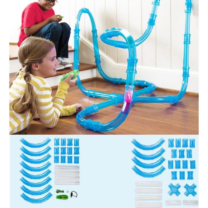 Children Pipes Racing Track Car Toy Child Flash Light DIY Tube Set Toys Finger Rock Remote Control Pipes Racing Track Car Toys