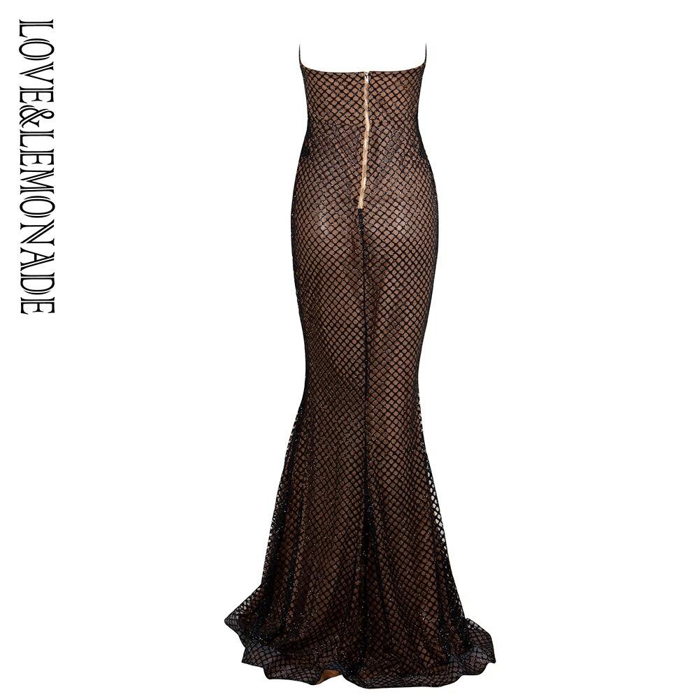 Vestido largo de Material pegado con purpurina de encaje con forma superior de Tubo negro Love & Lemonade LM1338-in Vestidos from Ropa de mujer    3