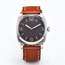 c37f151fa6c Parnis 47mm preto estéril mostrador branco caso brown pulseira de couro  vento mão mecânica Movimento Gaivota 6497 relógio dos ho.
