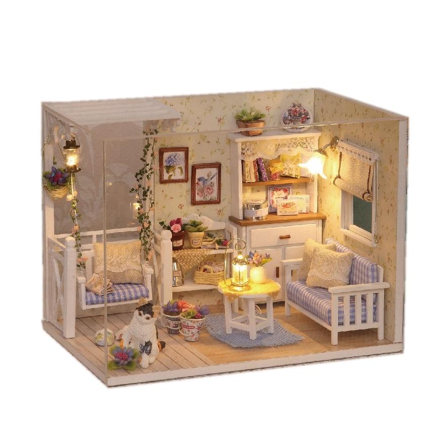 Us 11 92 50 Di Sconto Casa Di Bambola Mobili In Miniatura Fai Da Te Miniaturas Parapolvere 3d In Legno Dollhouse Giocattoli Gatto Regali Di