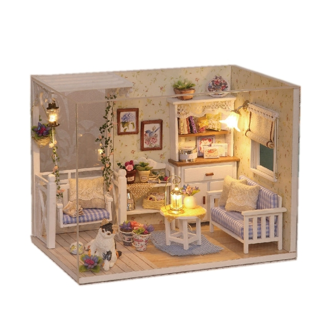 Doll House Furniture Diy Miniature Dust Cover 3D Wooden Miniaturas  Dollhouse Toys Cat Children Birthday Gifts