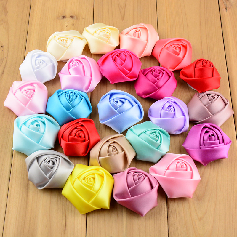 1200pcs lot Wholesale 2 Inch Ribbon Satin Rosettes Rose Flower Wedding Bouquet Accessories Girl Headwear Decoration