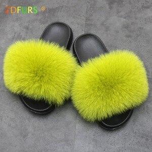Image 2 - ZDFURS * zapatillas de piel de zorro para mujer, Sliders suaves, cómodos zapatos planos de verano con piel de mapache, zapatos de suela EVA a la moda