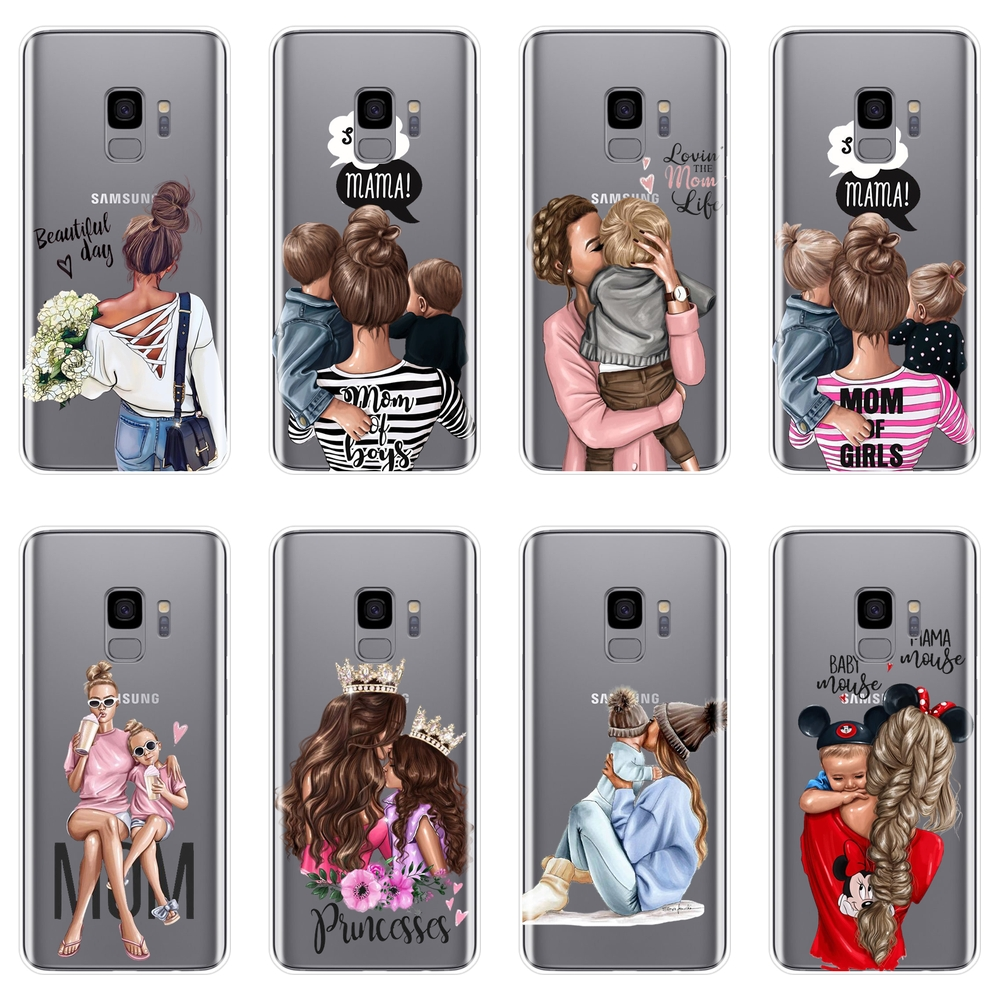 Baby Women Mom Back Cover For Samsung Galaxy Note 4 5 8 9 Soft Phone Case Silicone For Samsung Galaxy S8 S9 Plus S5 S6 S7 Edge
