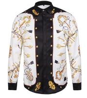 2018 Luxury White Printed Long Sleeve Men shirts