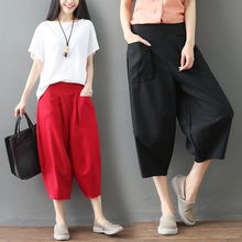 #0656 Summer Casual Cotton Linen Wide Leg Pants Women Front Pockets Elastic Waist Calf-length Plus Size Harem Female Loose
