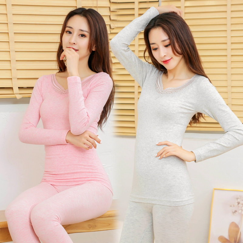 Seamless body underwear Qiuyi Qiuku women Color cotton embroidery v neck thin section Slim bottoming warm suit soft intimates in Maternity Long Johns from Mother Kids