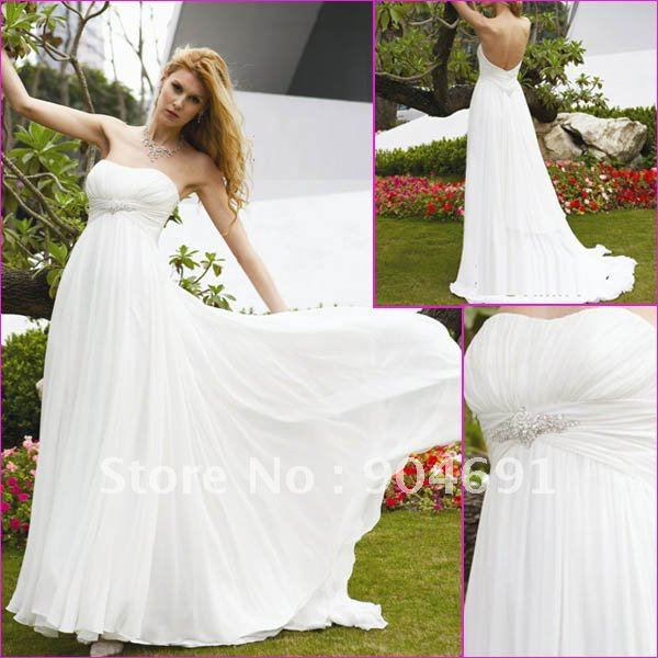 100% Gurantee Strapless White Chiffon Bridal Dress Beaded Empire ...