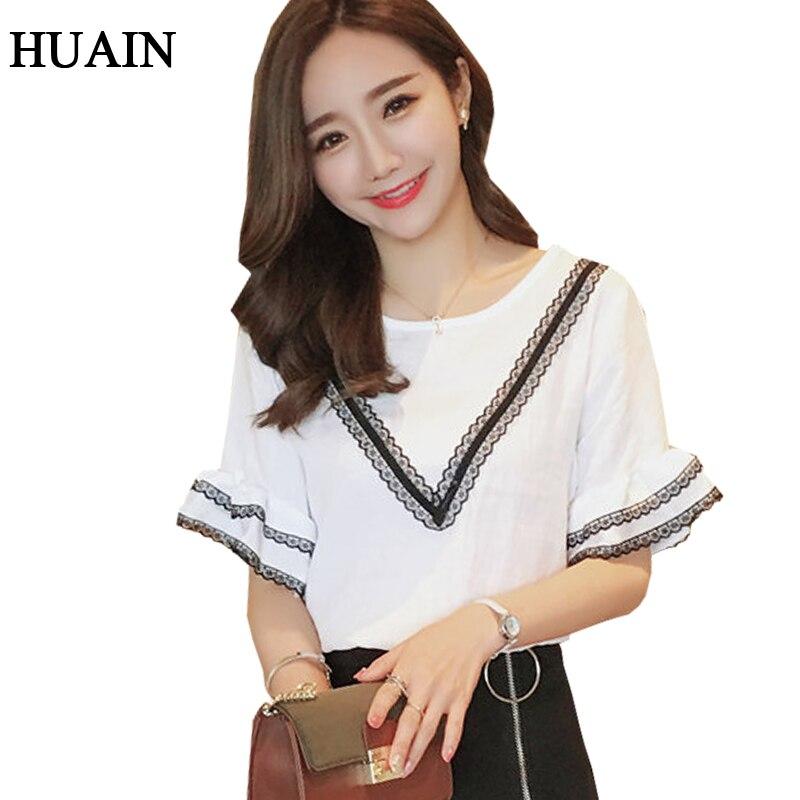 18c9f354ae4 Кружево хлопок белье блузка рубашка Женщины Flare рукавом белая рубашка  2017 Лето корейский Большие размеры блузка с коротким рукавом женские топы