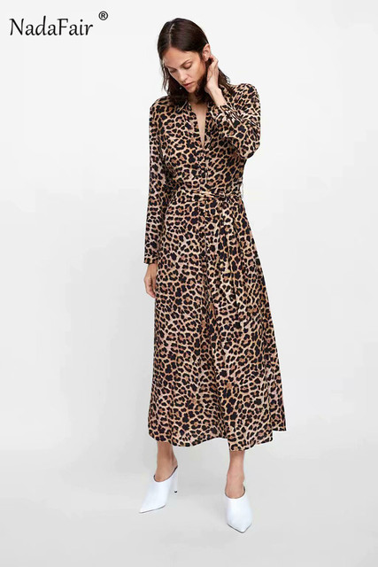 689fc9fde3f5 ... Nadafair animal leopard print dress elegant vestidos women long sleeve  turn-down collar sash chiffon